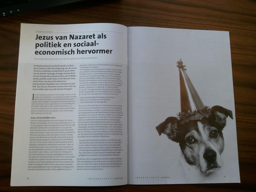 G. van Zanden, 'Jezus van Nazaret als politiek en sociaal-economisch hervormer. De (on)bruikbaarheid van Karl Barths 'gelassener Konservatismus'', Interpretatie 22/1 (2014), 8-11